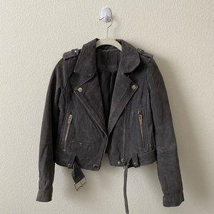 Blank NYC gray suede moto biker jacket XS